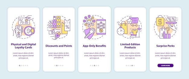 モバイルアプリのページ画面にオンボーディングする食料品店のポイントプログラムのアイデア。ポイントカードのチュートリアル5ステップのグラフィックの説明と概念。線形カラーイラストとui、ux、guiベクトルテンプレート
