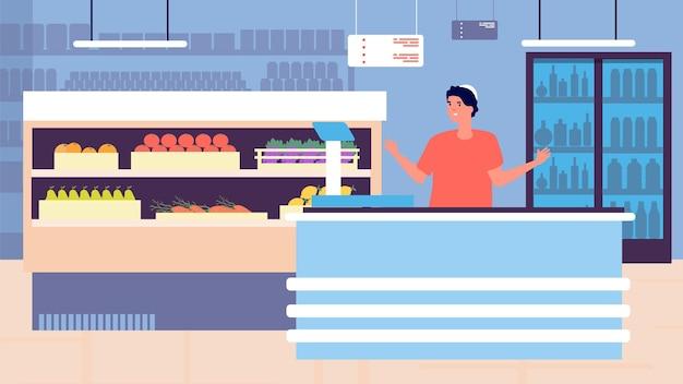 Покупки в продуктовом магазине. интерьер магазина розничной торговли и молодой кассир. помощник супермаркета, иллюстрация вектора службы продаж гипермаркета. прилавок кассира, касса гипермаркета, маркетинг и товары