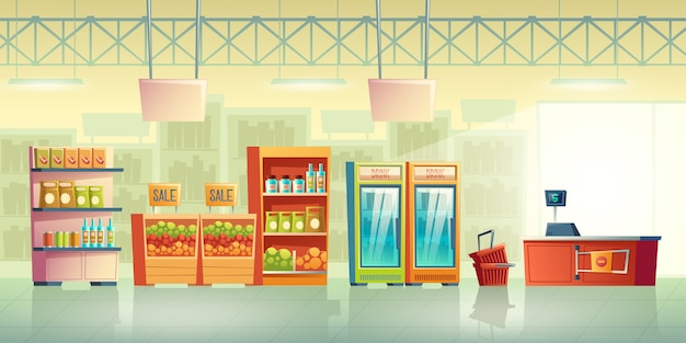 Grocery store trading room interior cartoon vector with shopping baskets near cash counter desk