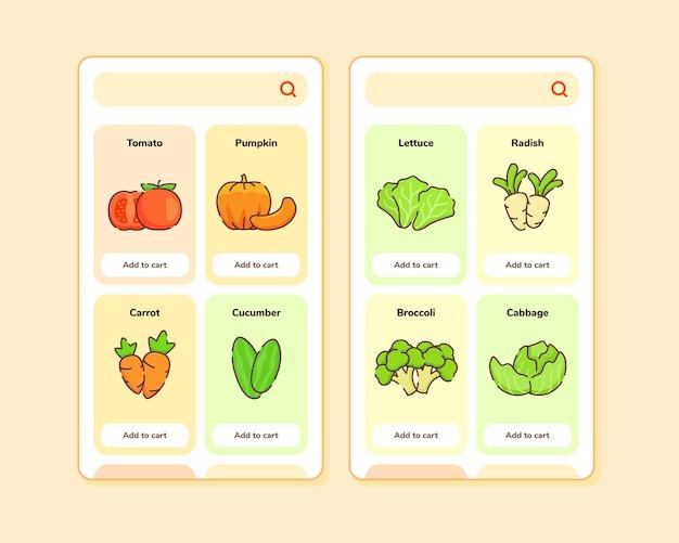 과일 목록이 포함 된 모바일 앱 템플릿 화면 디자인을위한 식료품 점 ui 또는 ux 디자인