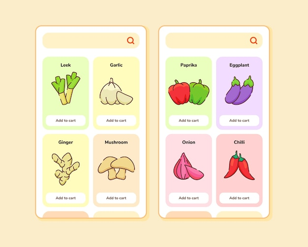 Grocery store ui or ux design for mobile apps template screen design with some fruit list