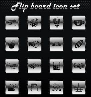Продуктовый магазин вектор флип механические иконки для дизайна пользовательского интерфейса