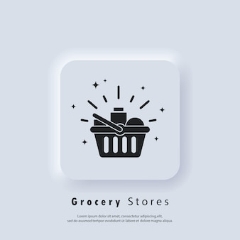 Grocery stores icon. shopping basket. shopping and e-commerce concept. vector eps 10. ui icon. neumorphic ui ux white user interface web button. neumorphism