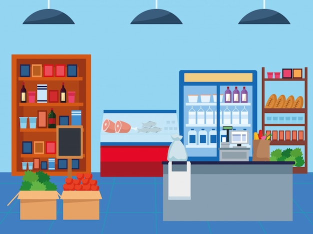 Grocery stores with products scene