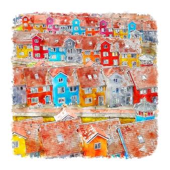 흐로닝언 네덜란드 수채화 스케치 손으로 그린 그림