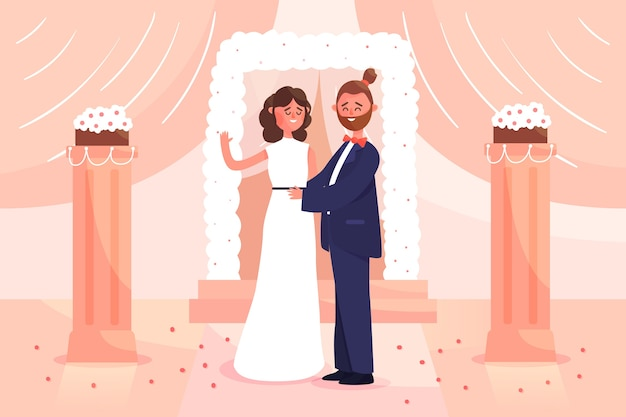 Groom and bride getting married illustration