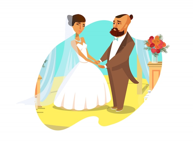 Groom and bride holding hands flat illustration.