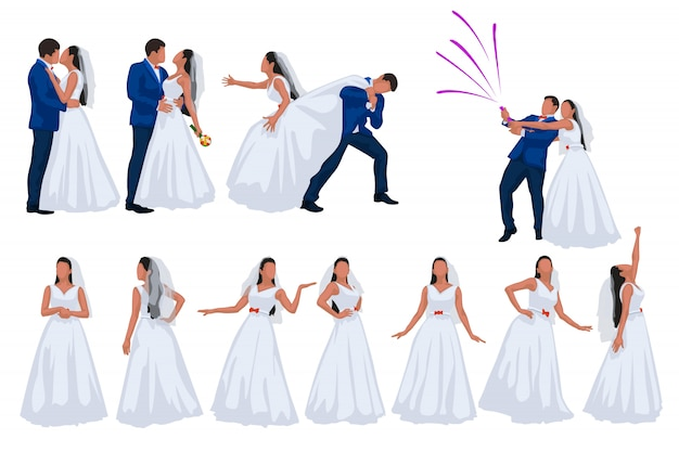 Groom and bride set on white background