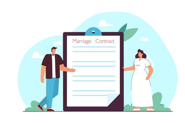 Sposo e sposa in piedi accanto alla cartella con contratto di matrimonio. piccola moglie e marito che firmano l'illustrazione piatta dell'accordo prematrimoniale