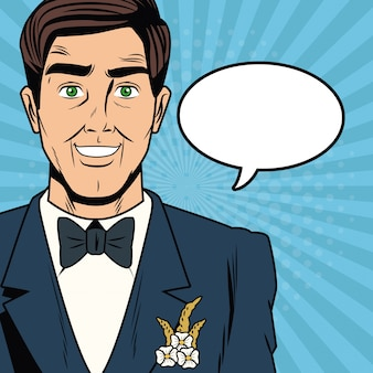 Groom pop art cartoon