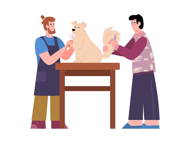 Грумеры заботятся о собаке в салоне стрижки животных векторная иллюстрация