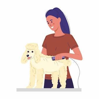 Уход за домашними животными женщина стрижет пудель собачий мех на столе