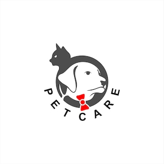 손질 로고 간단한 원형 개와 고양이 머리
