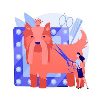Illustrazione di vettore di concetto astratto salone di toelettatura. appuntamento di toelettatura in salone, servizio mobile per animali domestici, salone di bellezza, centro benessere per cani, taglio di capelli, salone di trattamento delle zampe, metafora astratta di cura degli animali.
