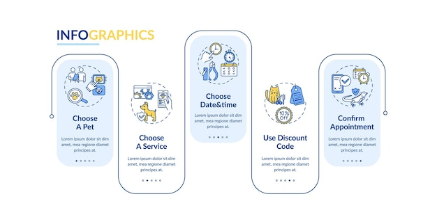 Grooming salon services app infographic template