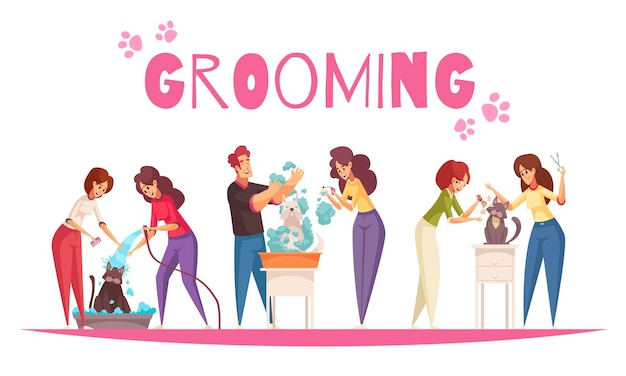 Grooming service concept with cats and dogs hygiene symbols flat