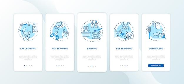 グルーミングサービスタイプのオンボーディングモバイルアプリページ画面とコンセプト