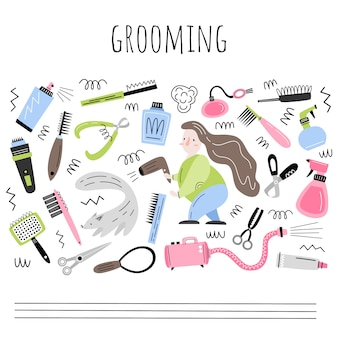 Grooming. vector set of objects and elements