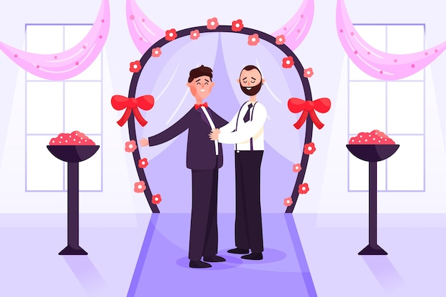 Grooms getting married illustration