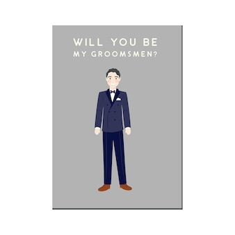 Groomsmen invitation with cute cartoon portrait character in tux
