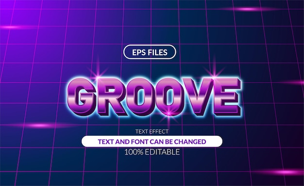 紫色のネオンカラーの編集可能なテキスト効果を備えたgrooveretro80s。