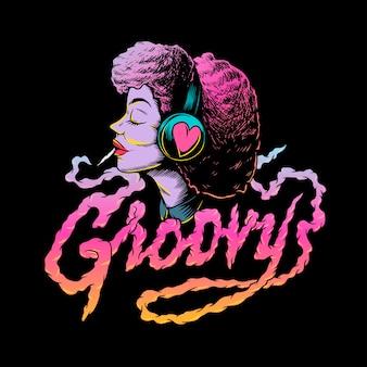 Groovy afro music creative illustration