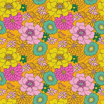 Groovy floral pattern hand drawn