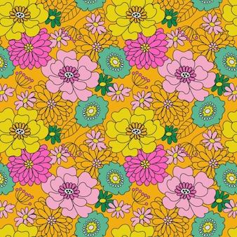 Groovy motivo floreale disegnato a mano
