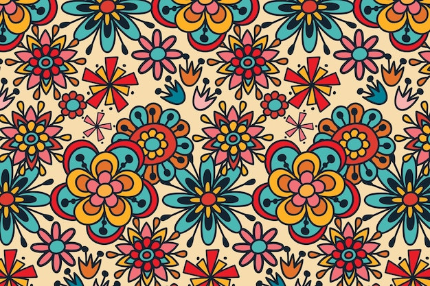 Groovy hand drawn floral repetitive pattern