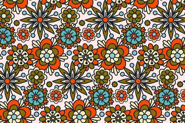 Groovy hand drawn floral seamless pattern