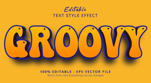 Groovy text on bold and funky style effect, editable text effect Premium Vector