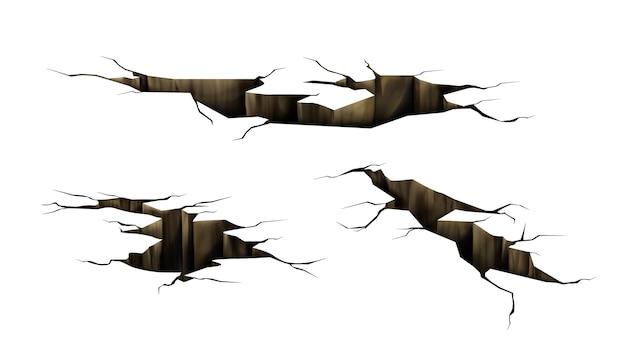 Crepe nel terreno, fori da crepe da terremoto, superficie del terreno in rovina struttura frantumata