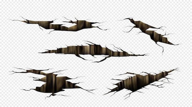 지상 균열, 육지 표면의 균열, 투시도에서 지진이 발생합니다. 투명 배경에 고립 된 지상, 재해 또는 가뭄으로 인한 균열의 현실적인 세트
