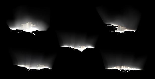 Трещины в земле со светом внутри, разрывы на поверхности земли