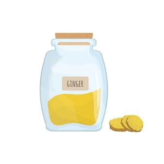 Ground ginger stored in clear jar isolated. piquant condiment, food spice, cooking ingredient in transparent kitchen container. colored vector illustration.