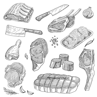 다진 고기, 소고기 스테이크, 돼지 갈비, 등심, 칠면조 다리, 칼 세트 프리미엄 벡터
