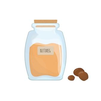 分離された透明な瓶に保存された地上ナツメグ。ピリ辛調味料、食品スパイス、透明なキッチンコンテナーの食材を調理。色のベクトル図です。
