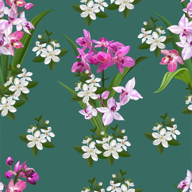 Ground orchid flower seamless pattern  illustration