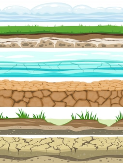 Ground seamless levels. desert grounded land soil ice grass texture water stone surfaces. game ui vector