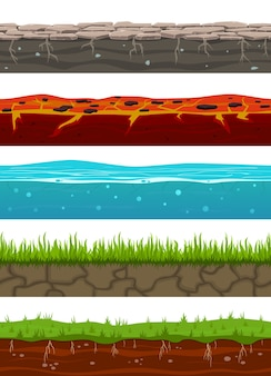 Ground seamless levels. game earth surfaces with land grass, dried soil, water and ice, lava.