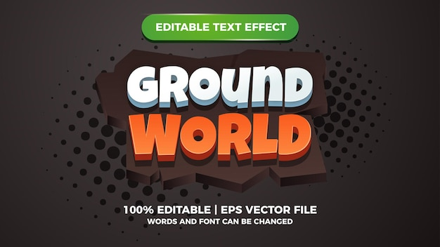 Ground world comic editable text effect