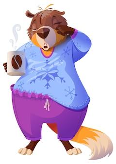 グラウンドホッグデーは冬を予測します。眠そうなマーモットは目をこすり、コーヒーのマグカップを持っています。