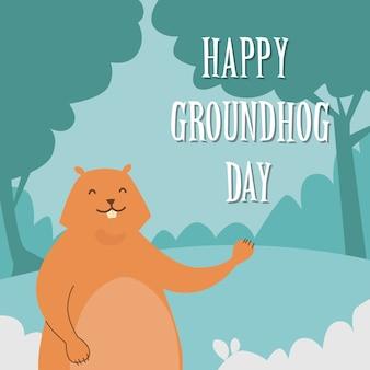 Groundhog day happy animal waving paw greeting card