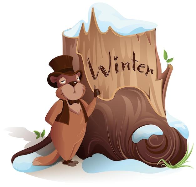День сурка сурок объявляет о раннем приходе зимы, изолированные на белом вектор