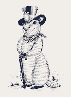 マーモットの日。帽子をかぶったマーモットは、杖に足を置いた