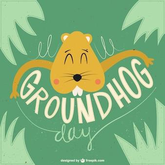 Groundhog day vintage illustration