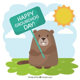 Groundhog with a greeting poster illustration