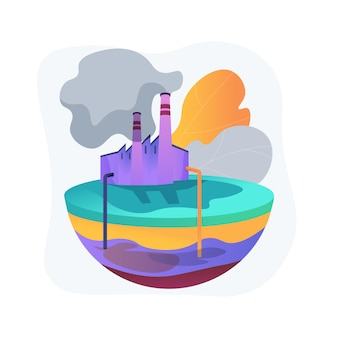 地下水汚染の抽象的な概念図。地下水汚染、地下水汚染、土壌中の化学汚染物質、埋め立て地、浄化システム