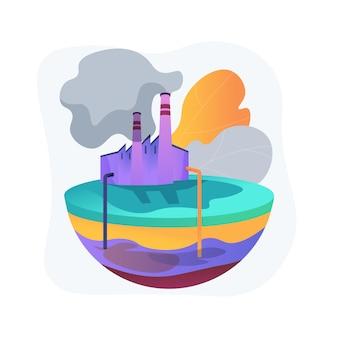 Illustrazione di concetto astratto di inquinamento delle acque sotterranee. contaminazione delle acque sotterranee, inquinamento delle acque sotterranee, inquinante chimico nel suolo, discarica, sistema di depurazione