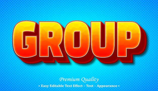 Group 3d editable text style effect